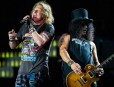 BRISBANE, AUSTRALIA - FEBRUARY 07:  Axl Rose and Slash perform at the Guns 'N' Roses 'Not In This Lifetime' Tour at QSAC Stadium Brisbane on February 7, 2017 in Brisbane, Australia.  (Photo by Marc Grimwade/WireImage,)