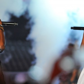 LOS ANGELES, CA - AUGUST 28: (L-R) Kanye West and Jay-Z onstage performing at the 2011 MTV Video Music Awards at the Nokia Theatre L.A. Live on August 28, 2011 in Los Angeles, CA. (Photo by Vince Bucci/PictureGroup)