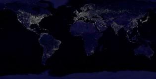 Una noche en el planeta vista desde el espacio