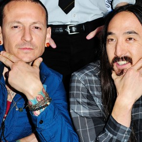 LOS ANGELES, CA - NOVEMBER 14: Chester Bennington and Steve Aoki arrive at Music for Relief presents Relief Live at L.A. River Studios on November 14, 2015 in Los Angeles, California.  (Photo by Jerod Harris/WireImage)